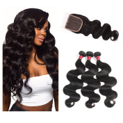 Fine Plus Brazilian Body Wave 3 Bundles with 3 Part Lace Closure 7a Unprocessed Virgin Braziian Body Wave 4x4 Three Part Closure Mixed Length 14 14 14 + 12