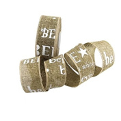"""3.8cm Wide by 20-Yard Spool Printing """"BELIEVE"""" Letter Linen Colour Burlap Ribbon For Christmas Festival Home Gift Decoration Door Wreath Making DIY Handmade Crafts Accessories"""