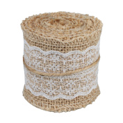 vLoveLife Natural Burlap Craft Ribbon Roll with White Lace DIY Handmade Christmas Wedding Crafts Lace Linen - 6.1cm x 200cm