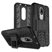 Moto M Case, ARSUE [Premium Rugged] Heavy Duty Armour [Shock Resistant] Dual Layer with Kickstand Case for Motorola Moto M - Black