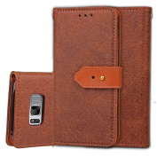 Galaxy S8 Case,ARSUE Premium Emboss Flower Soft PU Leather Wallet Case Flip Cover Skin with Card Slot and Stand for Samsung Galaxy S8 - Brown