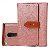 LG G Stylo Case, LG G4 Stylus Case, (Not Fit LG G4), ARSUE Premium Emboss Flower Soft PU Leather Wallet Case Flip Cover Skin with Card Slot for LG G Stylo / LG G Stylus (LS770) - Rose Gold