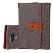 LG G5 Case, ARSUE Premium Emboss Flower Soft PU Leather Wallet Case Flip Cover Skin with Card Slot for LG G5 2016 - Grey