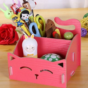 Grocery House DIY Assembling Cute Cat Wooden Storage Box Pencil Holder, Desktop Storage Container