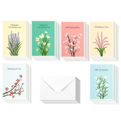 36 Pack Sympathy Greeting Cards Assortment Condolence Note Cards - Colourful Floral Flower Designs - Bulk Box Set Envelopes Included 10cm x 15cm