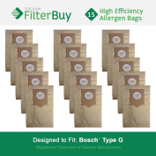 15 - Bosch Type G Vacuum Bags, Bosch part # 462544, BBZ51AFG1U & BBZ51AFG2U. Designed by FilterBuy to fit Bosch Compact, Formula, HealthGuard, Electro Duo & Plus Canister Vacuum Cleaners