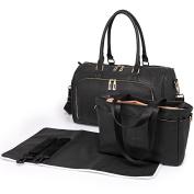 Miss Lulu 3 Piece Baby Nappy Nappy Changing Bag Set Large Shoulder Handbag PU Leather Tote Black