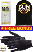 Sun Goddess (3) Sunless Self Tanning Lotion Samples . 1) Sunless Self Tanning Applicator Mitt + (1) PAIR of Sunless Self Tanning Applicator Gloves - Sunless Self Tanning Lotion Mitt Gloves