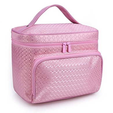 DRQ Large Cosmetic bags-Multifunction Portable Travel Toiletry Bag Cosmetic Makeup bags with Mirror for Women Skincare Cosmetic Pouch Organiser (B type-Pink)