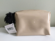 Nordstrom Faux Patent Leather Cosmetic Bag - Nude /w/Black Faux Fur Zipper-Pull Pom Pom