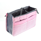 uxcell Travel Mesh Cosmetic Bag Case Multifunction Buggy Pouch Pink