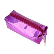 TRENDINAO 2017 Fashion Purple Zipper Comestic Storage Bag Hologram Pencil Case Pen Holder Makeup Boxes
