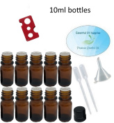 10ml Amber Glass Bottles with Euro Orifice Reducer Tops (Pack of 10), Funnel, Pipettes, and Essential Oil Bottle Opener