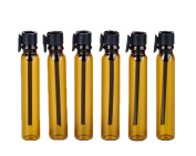 24PCS 1ML/2ML Refillable Amber Glass Sample Bottles Vials Container for Essential Oil with Cap