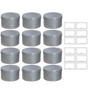 Silver Deep Metal Tin Containers with Screwtop Twist Lids 470ml (12 Pack) + Labels