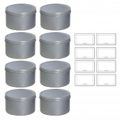Silver Deep Metal Tin Containers with Screwtop Twist Lids 470ml (8 Pack) + Labels