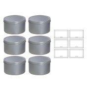 Silver Deep Metal Tin Containers with Screwtop Twist Lids 470ml (6 Pack) + Labels