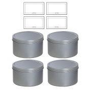 Silver Deep Metal Tin Containers with Screwtop Twist Lids 470ml (4 Pack) + Labels