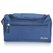 ProCase Toiletry Bag Travel Case with Hanging Hook, Organiser for Accessories, Shampoo, Cosmetic, Personal Items, Healthcare Bag with Handle, Navy Blue