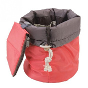 Merssavo Classic Fashion Large Cylindrical Drawstring Travel Makeup Bag Cosmetic Pouch Rose Red