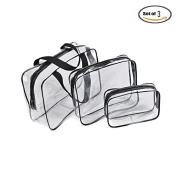 IDS 3 Pack Clear PVC Toiletry Bag Set with Zipper for Vacation, Bathroom, Storage