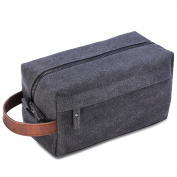 Lucky Rain Canvas Travel Toiletry Bag, Dopp Kits with Genuine Leather Handle