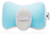 Luxury Spa BATH PILLOW Gift Set by Home Prime Plus LOOFAH SPONGE Fits Any Bathtub / Hot Tub / Jacuzzi with 2 Strong Suction Cups - Large & Soft, Shoulder & Neck Support.