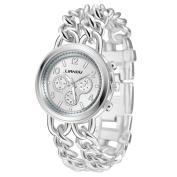 Voberry Women Crystal Bracelet Lady Fashion Stainless Steel Analogue Quartz Wrist Watch