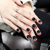Halloween Short Press On Nails Monster's fangs False Nails Black Shiny Perfect for Party 24pcs/kit Z381