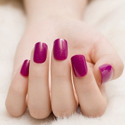 Short Glitter Pattern Acrylic Nails Darken Rose Purple Square Shimmer Press On Nails Tips Decoration 24pcs/kit Z379