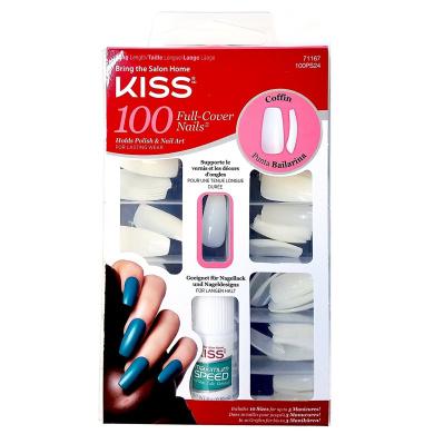 Kiss Ballerina Coffin 100 Tips #71167 100PS24 Long Length Nails (2 Pack)
