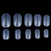 JUMP 600pcs Round Head Full Cover False Fake Artificial Nails Tips Art Tools (1 bag-600pcs, Natural/white/clear)