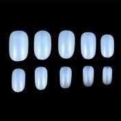 JUMP 600pcs Round Head Full Cover False Fake Artificial Nails Tips Art Tools (2 bag-1200pcs, Natural/white/clear)