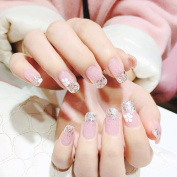 Bridalvenus False Nails 24Pcs/Set Fake Nails Bridal Full Cover Medium Square Pink Flower and Silver Glitter Nail Tips with Design Press on Nails with Glue and Adhesive Tab for Women and Girls