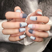 Grey Matte French Nails Round Top Frost Designed Tips Clear Moo Lady Fake Nail 24pcs/kit Press On Nails Z357