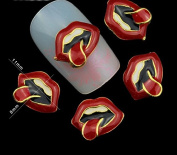 10pc Lips Shape Rhinestones,3d Nail Art Decorations, Alloy Nail Sticker Charms Jewellery for Nail