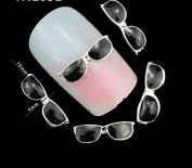 10Pcs/Pack Black Sunglasses Rhinestone 3D Nail Art Decorations DIY Alloy Nails Tools Top Nail