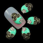 10pcs Blue Alloy Glitter 3d Nail Art Skull Decorations with Rhinestones Nail Charms On Nails Salon Supplies