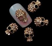 10Pcs Alloy Glitter 3D Nail Art Skull Decorations With RhinestoneS Nail Charms,Jewellery on Nails Salon Supplies