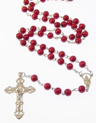 Red wooden rosary necklace 6mm beads 49cm long loose ornate crucifix
