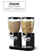 Double Black Cereal, Topping Dispenser Twin Canister for Easy Storage Of Dry Food, Oatmeal's, Candy & Nuts Transparent Kitchen Storage Gadget 520ml Dimension 45x25x35 cm Weight 1.25 KG DIY.