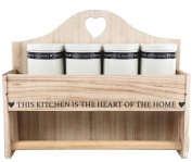 Heart Of The Home Wooden Wall Mounted Paper Kitchen Roll Holder And Storage Unit With Containers