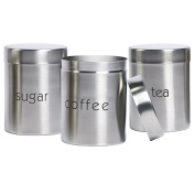 3 Piece Stainless Steel Canister Set, Kitchen Canister Set