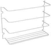 Ybmhome Wall Door Mount Kitchen Wrap Rack Organiser Holder Storage Basket Pantry Caddy Cabinet Space Saver White 2229