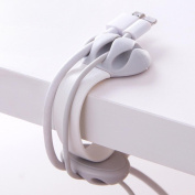 DZT1968 1PC Headphone Headset Wire Wrap Cord Winder Organiser Cable Collector Silica 5.5x3.7cm