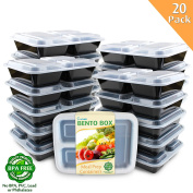 Enther [20 Pack] 3 Compartment Meal Prep Containers with Lids,Premium Food Storage Bento Boxes, BPA Free, Stackable,Reusable, Microwave/Dishwasher/Freezer Safe,Portion Control