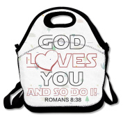 God Loves You And So Do I Large & Thick Insulated Tote Lunch Carry Bag Tote Lunch Bag For Men Women Kids Enjoy You Lunch