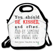 Gone With The Wind Be Kissed Quote Large & Thick Insulated Tote Lunch bag Insulated Lunch Bag For Men Women Kids Art Of Lunch