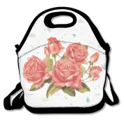 Coral Flower Large & Thick Insulated Tote Lunch Bags With Containers Lunch Bag For Men Women Kids Enjoy You Lunch