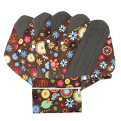 Hi Sprout Bamboo-charcoal Reusable Sanitary Pads, Cloth Mama Menstrual Pads, Brown flowers